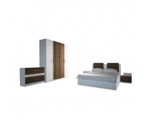 Set Dormitor Complet Gabriela - Culoare Alb/ Maro - Sifonier + Pat + Noptiere + Comoda + Oglinda
