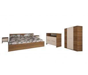 Set Dormitor Complet Mirela Nuc - Culoare Alb / Sonoma - Sifonier + Pat + Noptiere + Comoda