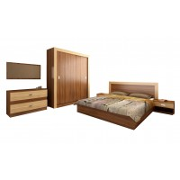 Set Dormitor Complet Palermo - Sifonier + Pat + Noptiere + Comoda + Oglinda