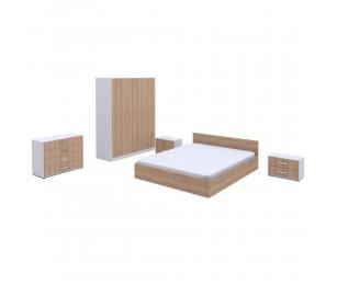 Set Dormitor Complet Stasy Stejar - Culoare Stejar / Alb - Sifonier + Pat + Noptiere + Comoda