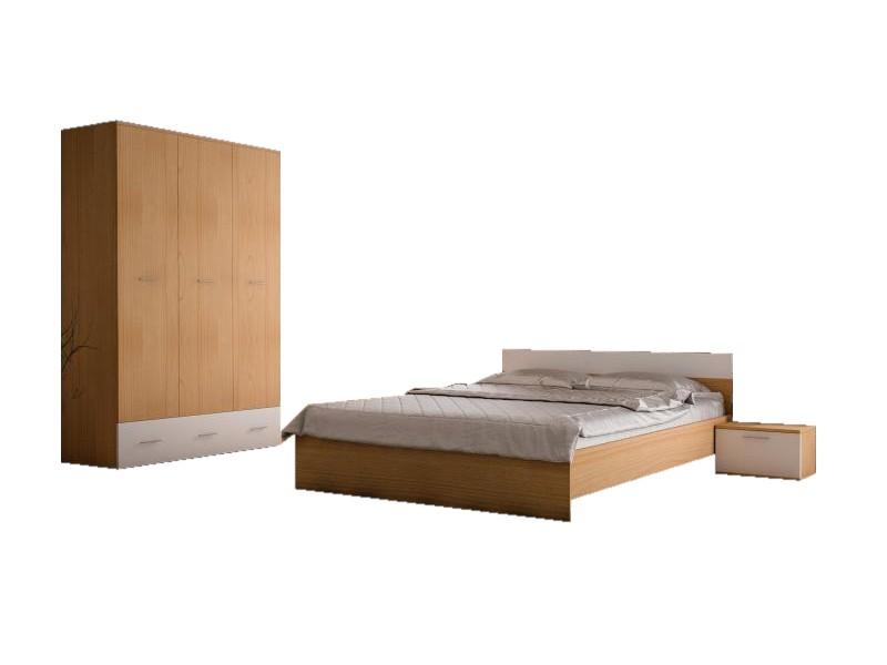 Set Dormitor Complet Viktoria Stejar - Culoare Stejar - Sifonier + Pat + Noptiere